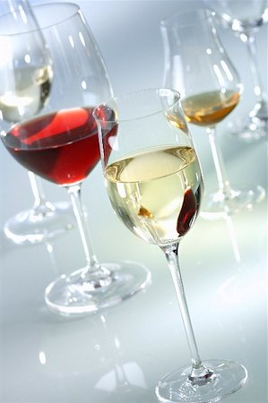 Glasses of different types of wine Stock Photo - Premium Royalty-Free, Code: 659-02211216