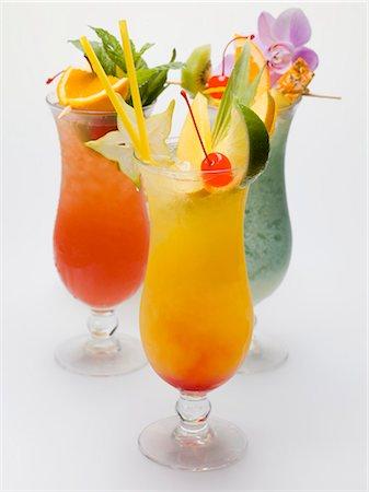 Three fruity long drinks Stock Photo - Premium Royalty-Free, Code: 659-03528481