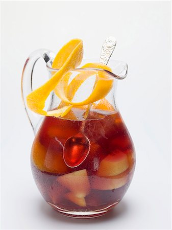 Sangria in a glass jug with orange peel Stock Photo - Premium Royalty-Free, Code: 659-03529649
