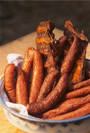 smoked - Selchwurst (smoked sausage) and smoked ribs Stock Photo - Premium Royalty-Free, Code: 659-03534427