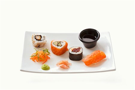rectangle - Sushi with wasabi, ginger and soy sauce Stock Photo - Premium Royalty-Free, Code: 659-03536071