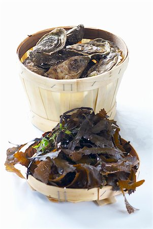 A basket of fresh oysters, seaweed Stock Photo - Premium Royalty-Free, Code: 659-03531595