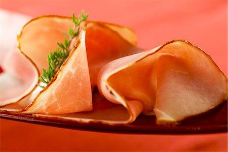smoked - Two slices of smoked ham Stock Photo - Premium Royalty-Free, Code: 659-03532654