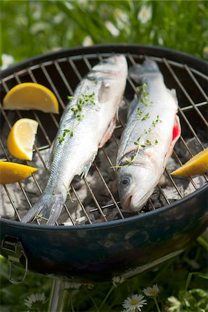 Cooking bass on the barbecue Stock Photo - Premium Royalty-Free, Code: 652-05806955