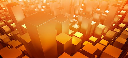 futuristic - Orange three dimensional rectangular shapes Stock Photo - Premium Royalty-Free, Code: 653-05976157