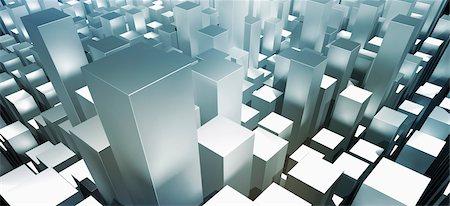 rectangle - Metallic gray three dimensional rectangular shapes Stock Photo - Premium Royalty-Free, Code: 653-05976165