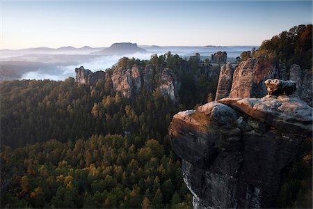 rock - Morning at the Bastei, Elbe Sandstone Mountains, Saxon Switzerland National Park, Germany Stock Photo - Premium Royalty-Free, Code: 653-05976211