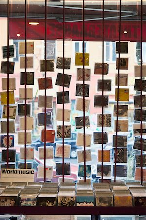 A window display of hanging compact discs in a record shop Stock Photo - Premium Royalty-Free, Code: 653-05976249