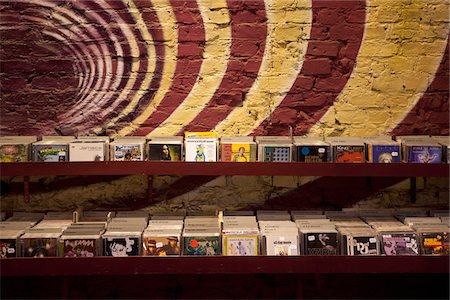 Shelves of compact discs in a record shop Stock Photo - Premium Royalty-Free, Code: 653-05976254