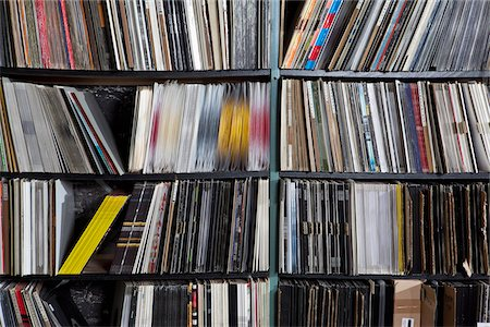 Rows of records on shelves Stock Photo - Premium Royalty-Free, Code: 653-05976267