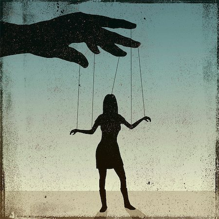 restrained - A silhouetted woman being controlled by a puppeteer Stock Photo - Premium Royalty-Free, Code: 653-06534184