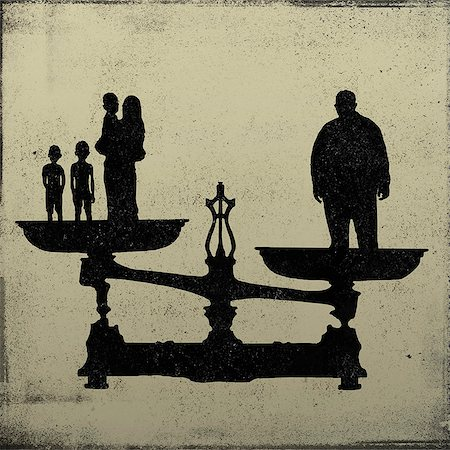 stencils - Silhouette of a big man on one end of a scale and a women and kids on the other Stock Photo - Premium Royalty-Free, Code: 653-06534198