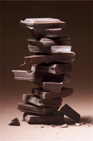 A stack of dark chocolate Stock Photo - Premium Royalty-Free, Code: 653-06534245