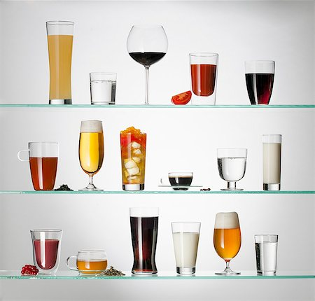stage show - A collection of various types of drinking glasses filled with a variety of beverages Stock Photo - Premium Royalty-Free, Code: 653-06534320