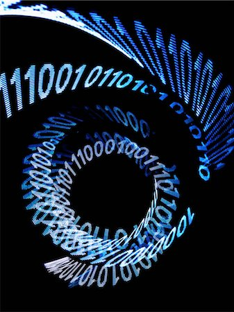 An abstract spiral pattern of binary code Stock Photo - Premium Royalty-Free, Code: 653-06534450
