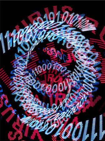 Spirals of blue binary code and the word VIRUS repeated many times in red Stock Photo - Premium Royalty-Free, Code: 653-06534451