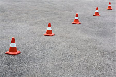 five - Cones on tarmac Stock Photo - Premium Royalty-Free, Code: 653-06534481