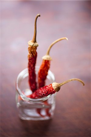 spicy - Three dried chilies in a glass jar Stock Photo - Premium Royalty-Free, Code: 653-06534538