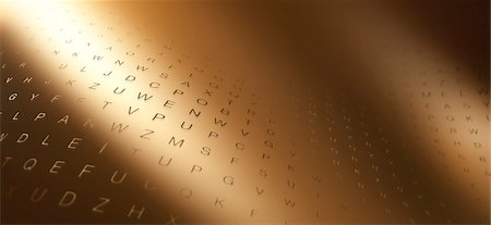 Multiple rows of random letters on a curving gold surface Stock Photo - Premium Royalty-Free, Code: 653-06819556