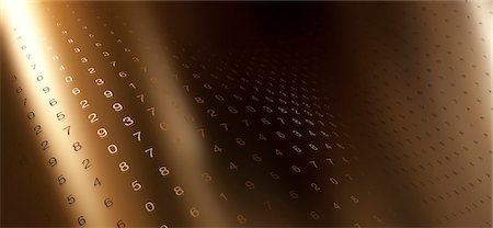 shiny - Multiple rows of random numbers on a curving gold surface Stock Photo - Premium Royalty-Free, Code: 653-06819550