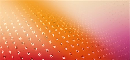 shimmering - Multiple rows of numbers on a curved orange surface Stock Photo - Premium Royalty-Free, Code: 653-06819562