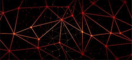A web of bright red dots connected by lines against a black background Stock Photo - Premium Royalty-Free, Code: 653-06819563