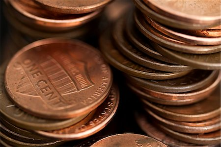 Loose stacks of US pennies, full frame Stock Photo - Premium Royalty-Free, Code: 653-06819809