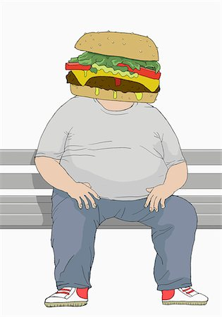 fat man full body - Illustration of an overweight man with a hamburger head Stock Photo - Premium Royalty-Free, Code: 653-07539094