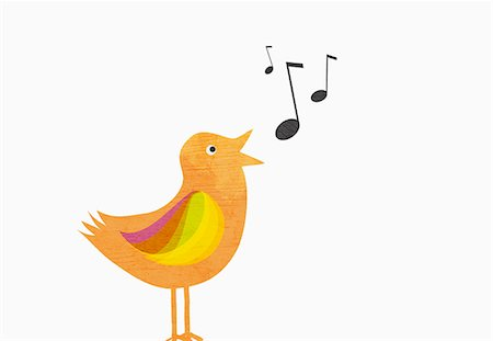 A songbird with musical notes against white background Stock Photo - Premium Royalty-Free, Code: 653-07708092