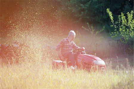 Mature man driving lawn mower in garden Stock Photo - Premium Royalty-Free, Code: 653-07761457