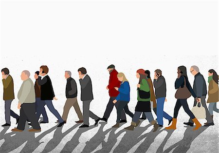 street - Illustration of people walking on street against clear sky Stock Photo - Premium Royalty-Free, Code: 653-08126284