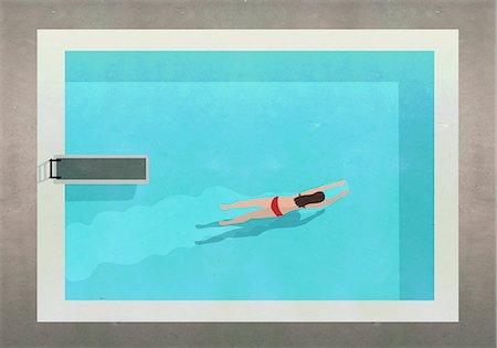 swimming pool water - Illustration of woman swimming in pool at resort Stock Photo - Premium Royalty-Free, Code: 653-08276739