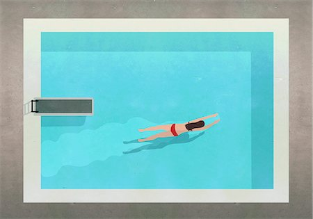 swimming - Illustration of woman swimming in pool at resort Stock Photo - Premium Royalty-Free, Code: 653-08276739