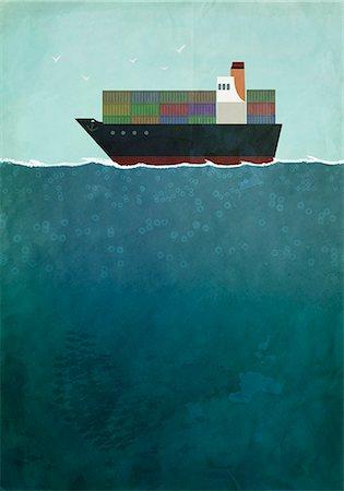 ships at sea - Illustration of cargo ship sailing on sea Stock Photo - Premium Royalty-Free, Code: 653-08276744