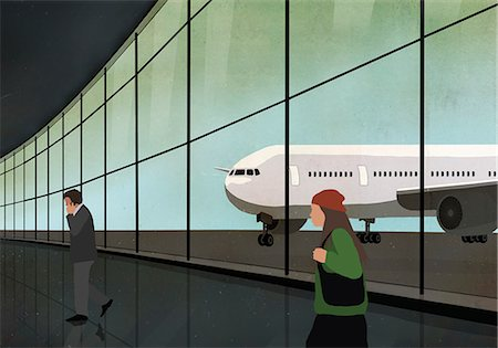 Passengers at airport terminal with airplane seen through window Stock Photo - Premium Royalty-Free, Code: 653-08382677