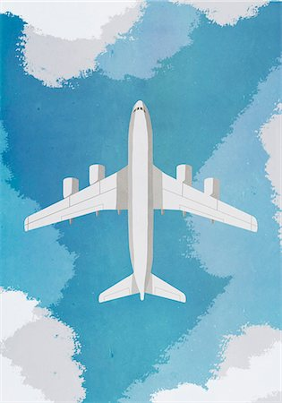 Directly above shot of airplane flying in sky Stock Photo - Premium Royalty-Free, Code: 653-08382683