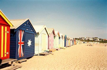 Row of colorful beach huts in summer, Brighton, Melbourne, Australia Stock Photo - Premium Royalty-Free, Code: 653-01656468