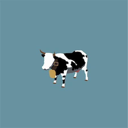 Stereotypical Swiss dairy cow Stock Photo - Premium Royalty-Free, Code: 653-02079065
