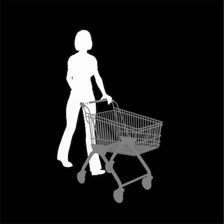 empty shopping cart - Silhouette of a woman pushing a shopping trolley Stock Photo - Premium Royalty-Free, Code: 653-02261428