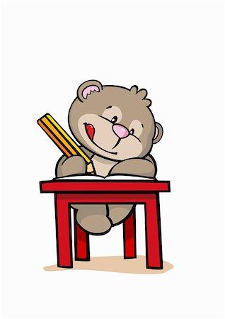 students learning cartoon - A cartoon bear at school Stock Photo - Premium Royalty-Free, Code: 653-02635422