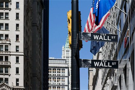 stock exchange building - Signs for 'Wall Street', Manhattan, New York City Stock Photo - Premium Royalty-Free, Code: 653-02835899
