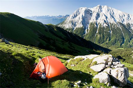 A tent on the slope of the Wetterstein mountain range Stock Photo - Premium Royalty-Free, Code: 653-03079861
