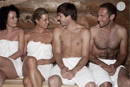 Four friends in a sauna Stock Photo - Premium Royalty-Free, Code: 653-03333813