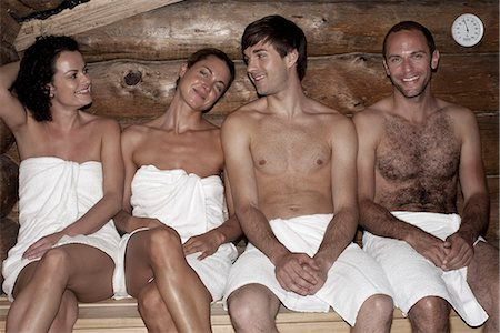 Four friends in a sauna Stock Photo - Premium Royalty-Free, Code: 653-03333848