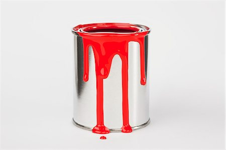 paint drips - Red Paint Dripping Down A Paint Can Stock Photo - Premium Royalty-Free, Code: 653-03459739