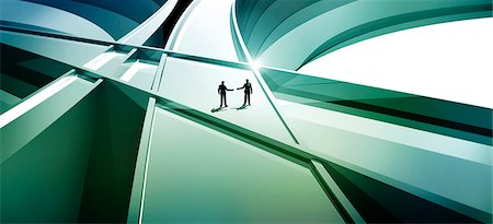 partnership - Two men on abstract three-dimensional lines Stock Photo - Premium Royalty-Free, Code: 653-03613294