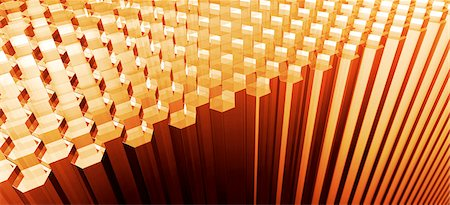 Rows of hexagon shaped rods Stock Photo - Premium Royalty-Free, Code: 653-03613311