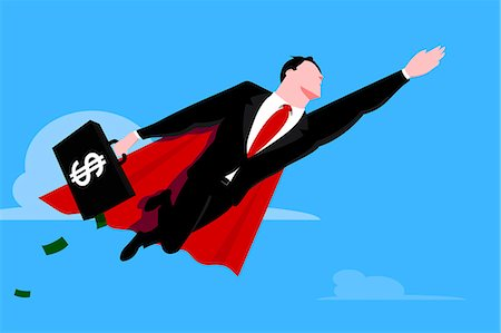 Flying businessman superhero with briefcase Stock Photo - Premium Royalty-Free, Code: 653-03613326
