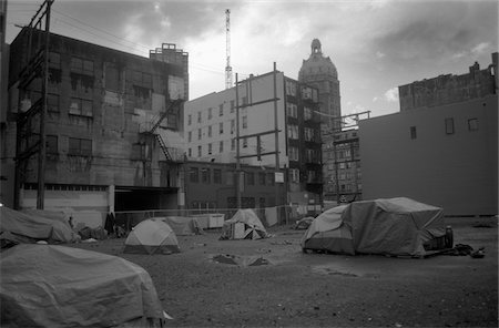 A vacant lot where the homeless have set up makeshift houses, Vancouver, BC, Canada Stock Photo - Premium Royalty-Free, Code: 653-03705794