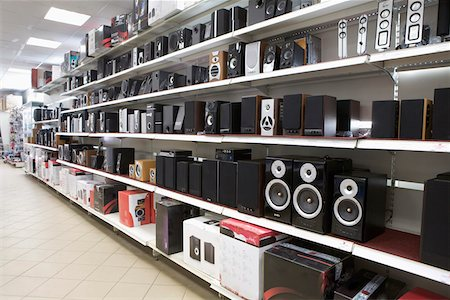 stage show - Speakers on display in an electronics store Stock Photo - Premium Royalty-Free, Code: 653-03843760